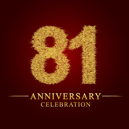 81 years anniversary celebration logotype. Logo gold pile of dry rice on red background. Number nest and fuzz gold foil.