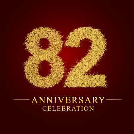 82 years anniversary celebration logotype. Logo gold pile of dry rice on red background. Number nest and fuzz gold foil.