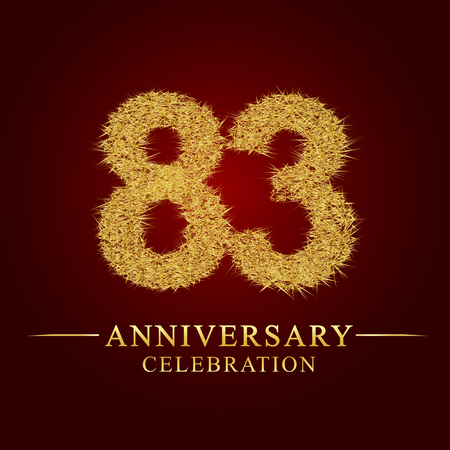 83 years anniversary celebration logotype. Logo gold pile of dry rice on red background. Number nest and fuzz gold foil.