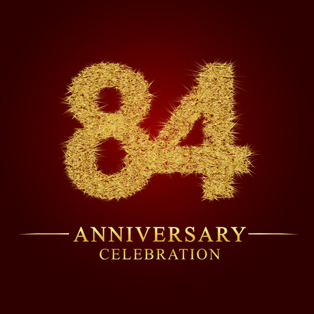 84 years anniversary celebration logotype. Logo gold pile of dry rice on red background. Number nest and fuzz gold foil. Illustration