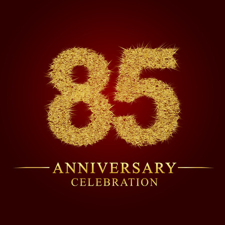 85 years anniversary celebration logotype. Logo gold pile of dry rice on red background. Number nest and fuzz gold foil.  イラスト・ベクター素材