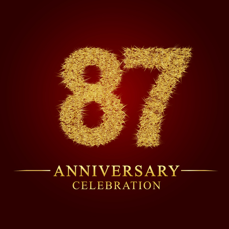87 years anniversary celebration logotype. Logo gold pile of dry rice on red background. Number nest and fuzz gold foil. Illustration