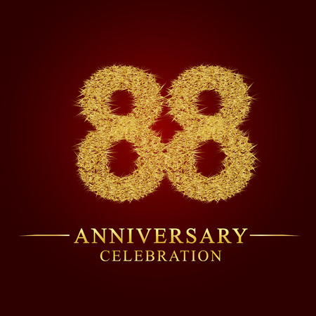 88 years anniversary celebration logotype. Logo gold pile of dry rice on red background. Number nest and fuzz gold foil.