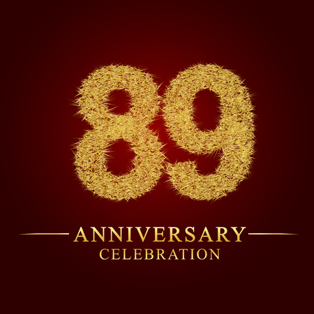89 years anniversary celebration logotype. Logo gold pile of dry rice on red background. Number nest and fuzz gold foil. Illustration