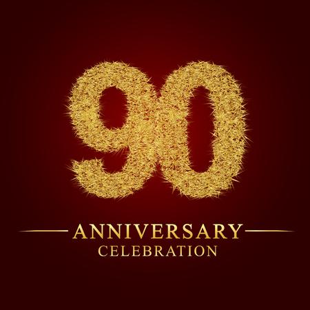 90 Jahre Jubiläumsfeier Logo. Logo Goldhaufen trockenen Reises auf rotem Hintergrund. Nummer Nest und Flaum Goldfolie.