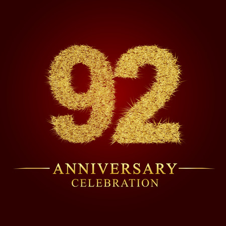 92 years anniversary celebration logotype. Logo gold pile of dry rice on red background. Number nest and fuzz gold foil. Illustration