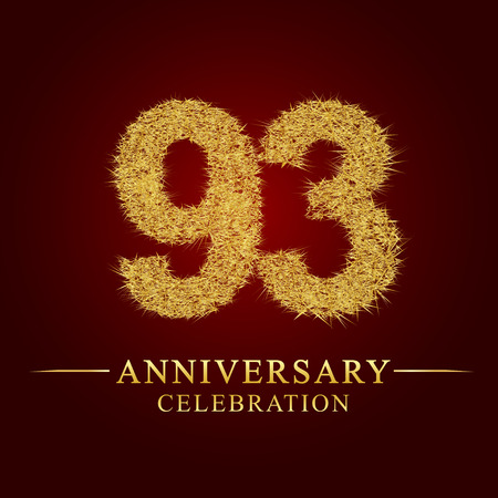 93 years anniversary celebration logotype. Logo gold pile of dry rice on red background. Number nest and fuzz gold foil.