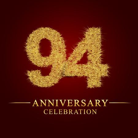 94 Jahre Jubiläumsfeier Logo. Logo Goldhaufen trockenen Reises auf rotem Hintergrund. Nummer Nest und Flaum Goldfolie.