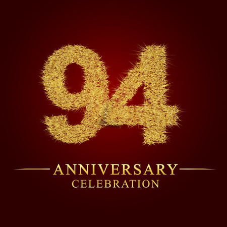 94 years anniversary celebration logotype. Logo gold pile of dry rice on red background. Number nest and fuzz gold foil.
