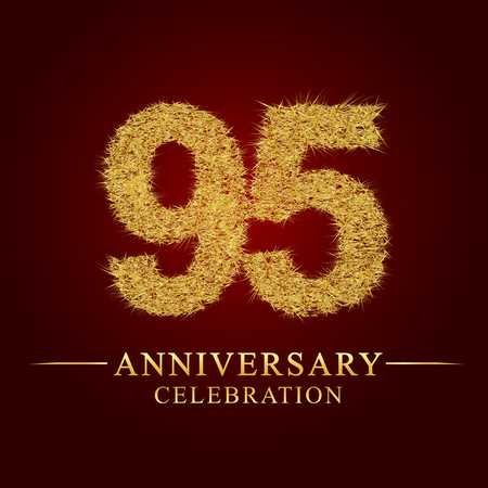 95 years anniversary celebration logotype. Logo gold pile of dry rice on red background. Number nest and fuzz gold foil.