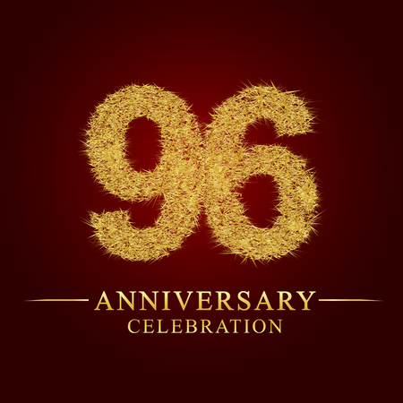 96 years anniversary celebration logotype. Logo gold pile of dry rice on red background. Number nest and fuzz gold foil.