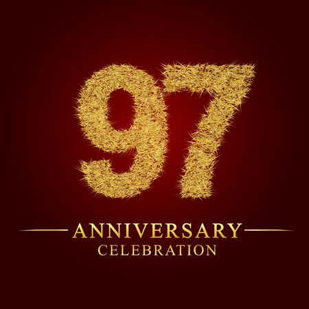 97 years anniversary celebration logotype. Logo gold pile of dry rice on red background. Number nest and fuzz gold foil.