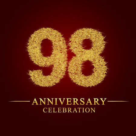98 years anniversary celebration logotype. Logo gold pile of dry rice on red background. Number nest and fuzz gold foil.
