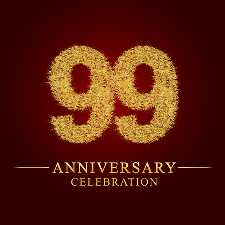 99 years anniversary celebration logotype. Logo gold pile of dry rice on red background. Number nest and fuzz gold foil. Illustration