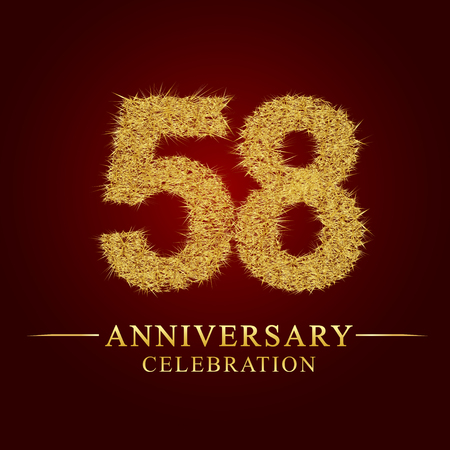 58 years anniversary celebration logotype. Logo gold pile of dry rice on red background. Number nest and fuzz gold foil. Illustration