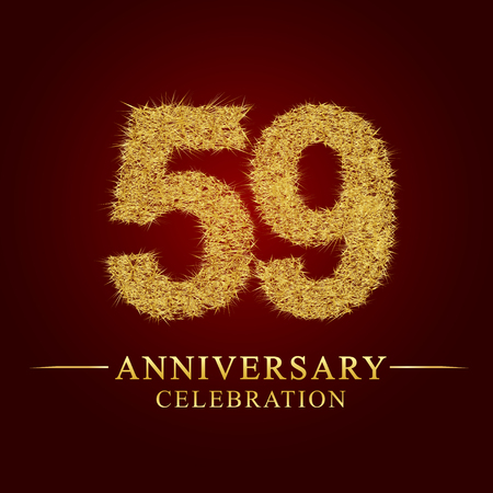 59 years anniversary celebration logotype. Logo gold pile of dry rice on red background. Number nest and fuzz gold foil.