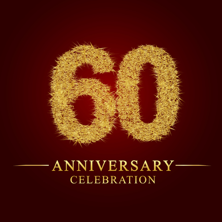 60 years anniversary celebration logotype. Logo gold pile of dry rice on red background. Number nest and fuzz gold foil.