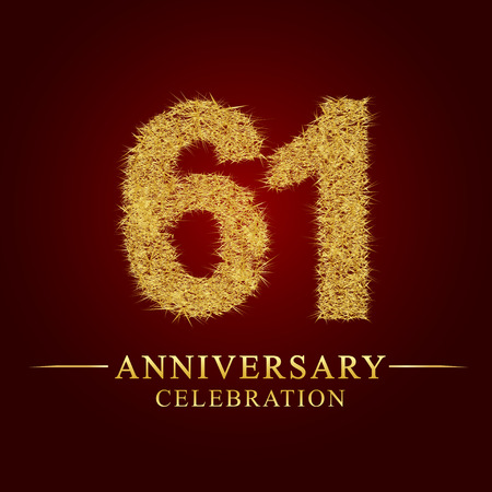 61 years anniversary celebration logotype. Logo gold pile of dry rice on red background. Number nest and fuzz gold foil.