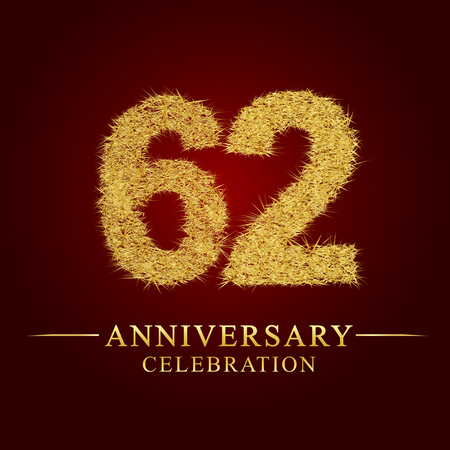 62 years anniversary celebration logotype. Logo gold pile of dry rice on red background. Number nest and fuzz gold foil.