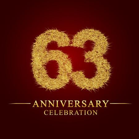63 Jahre Jubiläumsfeier Logo. Logo Goldhaufen trockenen Reises auf rotem Hintergrund. Nummer Nest und Flaum Goldfolie. Logo