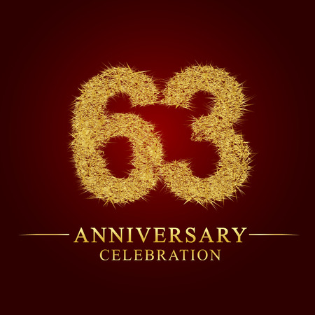 63 years anniversary celebration logotype. Logo gold pile of dry rice on red background. Number nest and fuzz gold foil.