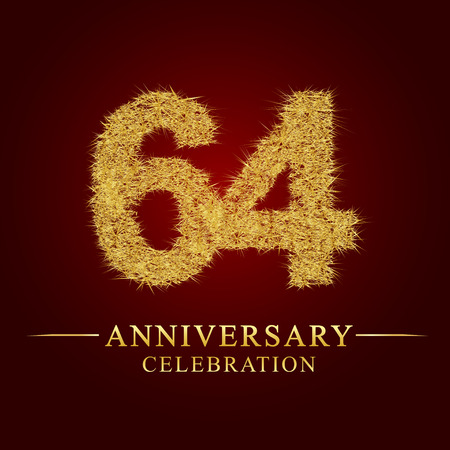 64 years anniversary celebration logotype. Logo gold pile of dry rice on red background. Number nest and fuzz gold foil.