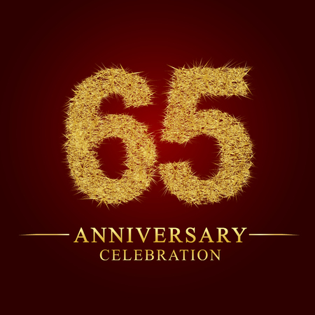 65 years anniversary celebration logotype. Logo gold pile of dry rice on red background. Number nest and fuzz gold foil.