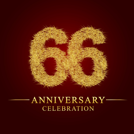 66 years anniversary celebration logotype. Logo gold pile of dry rice on red background. Number nest and fuzz gold foil.