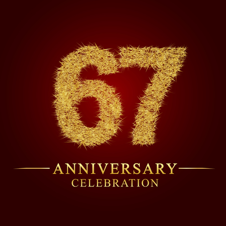 67 years anniversary celebration logotype. Logo gold pile of dry rice on red background. Number nest and fuzz gold foil. Illustration