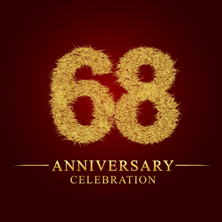 68 years anniversary celebration logotype. Logo gold pile of dry rice on red background. Number nest and fuzz gold foil.