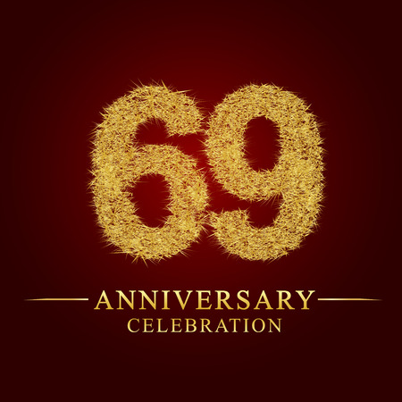 69 years anniversary celebration logotype. Logo gold pile of dry rice on red background. Number nest and fuzz gold foil.