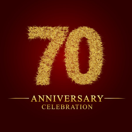 70 years anniversary celebration logotype. Logo gold pile of dry rice on red background. Number nest and fuzz gold foil.