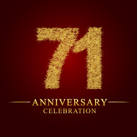 71 years anniversary celebration logotype. Logo gold pile of dry rice on red background. Number nest and fuzz gold foil. Illustration