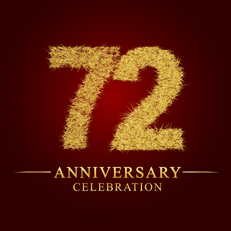 72 years anniversary celebration logotype. Logo gold pile of dry rice on red background. Number nest and fuzz gold foil.