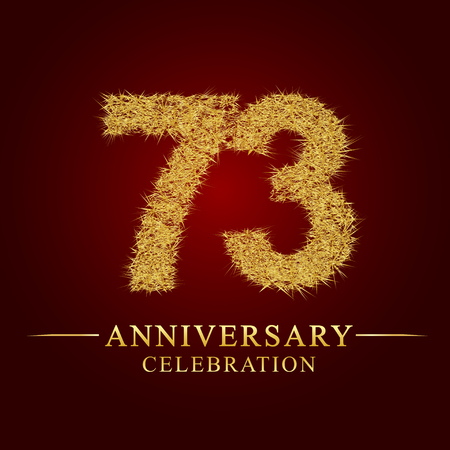 73 years anniversary celebration logotype. Logo gold pile of dry rice on red background. Number nest and fuzz gold foil.