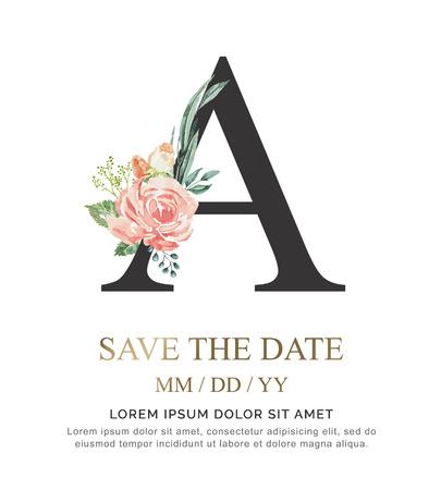 Alphabet Eine Blumenschrift aus Farbe Blumen- und Blattaquarell auf Papier. Vektor Hand gezeichneter Brief Ein Luxus-Design der Farbe. Süße Sammlung für Hochzeit lädt Dekorationskarte und andere Konzeptideen ein.