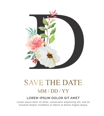 Alphabet D flower font made of paint floral and leaf watercolor on paper. Vector Hand Drawn letter D paint luxury design. Sweet collection for wedding invites decoration card and other concept ideas.  イラスト・ベクター素材