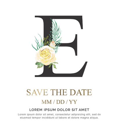 Alphabet E flower font made of paint floral and leaf watercolor on paper. Vector Hand Drawn letter E paint luxury design. Sweet collection for wedding invites decoration card and other concept ideas. Illustration