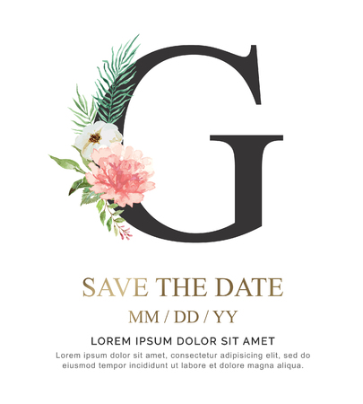 Alphabet G flower font made of paint floral and leaf watercolor on paper. Vector Hand Drawn letter G paint luxury design. Sweet collection for wedding invites decoration card and other concept ideas.