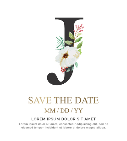 Alphabet J flower font made of paint floral and leaf watercolor on paper. Vector Hand Drawn letter J paint luxury design. Sweet collection for wedding invites decoration card and other concept ideas.