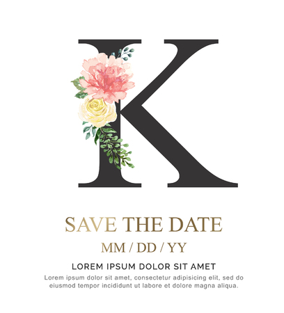 Alphabet K flower font made of paint floral and leaf watercolor on paper. Vector Hand Drawn letter K paint luxury design. Sweet collection for wedding invites decoration card and other concept ideas.