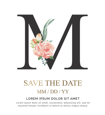 Alphabet M flower font made of paint floral and leaf watercolor on paper. Vector Hand Drawn letter Z paint luxury design. Sweet collection for wedding invites decoration card and other concept ideas.
