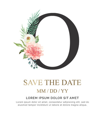 Alphabet O flower font made of paint floral and leaf watercolor on paper. Vector Hand Drawn letter O paint luxury design. Sweet collection for wedding invites decoration card and other concept ideas.  イラスト・ベクター素材