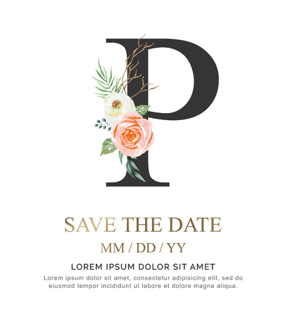 Alphabet P flower font made of paint floral and leaf watercolor on paper. Vector Hand Drawn letter P paint luxury design. Sweet collection for wedding invites decoration card and other concept ideas.