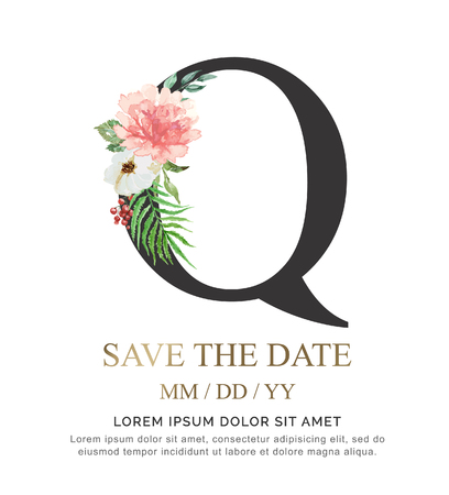Alphabet Q flower font made of paint floral and leaf watercolor on paper. Vector Hand Drawn letter Q paint luxury design. Sweet collection for wedding invites decoration card and other concept ideas.