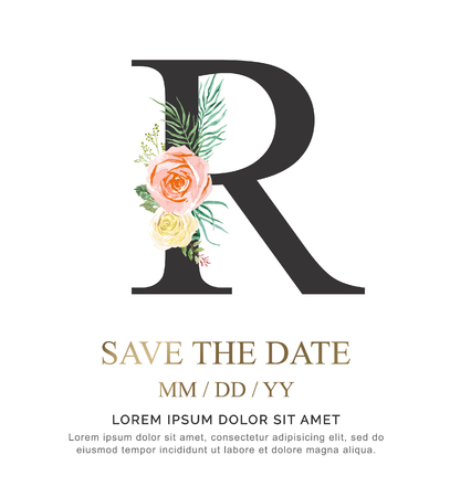 Alphabet R flower font made of paint floral and leaf watercolor on paper. Vector Hand Drawn letter R paint luxury design. Sweet collection for wedding invites decoration card and other concept ideas.