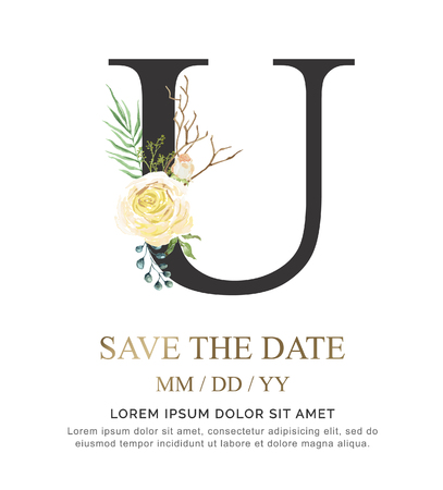 Alphabet U flower font made of paint floral and leaf watercolor on paper. Vector Hand Drawn letter U paint luxury design. Sweet collection for wedding invites decoration card and other concept ideas. Vettoriali