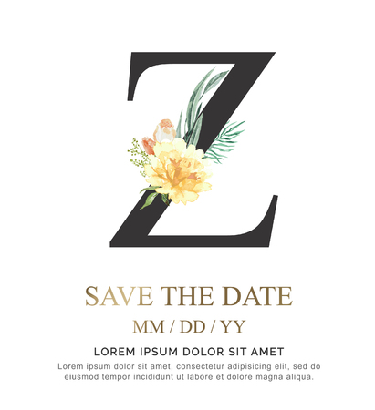 Alphabet Z flower font made of paint floral and leaf watercolor on paper. Vector Hand Drawn letter Z paint luxury design. Sweet collection for wedding invites decoration card and other concept ideas.