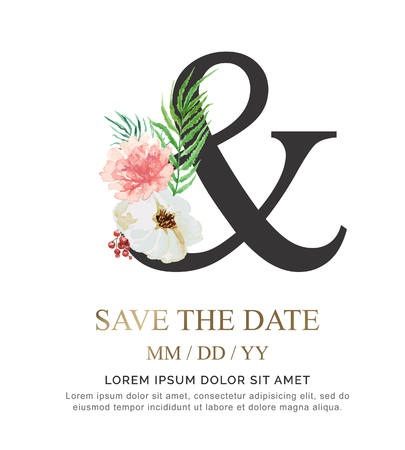 Symbol & flower font made of paint floral and leaf watercolor on paper. Vector Hand Drawn icon & paint luxury design. Sweet collection for wedding invites decoration card and other concept ideas.