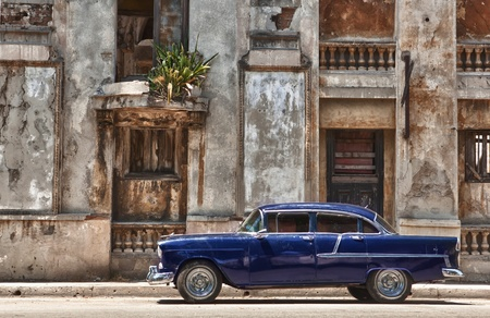 havana: vintage car in Havana, Cuba Stock Photo